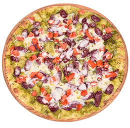 Пицца Капрезе с охотничьими колбасками