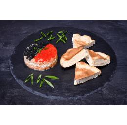 Дует тар-тарів з дорадо і лосося з м'ятним огірком